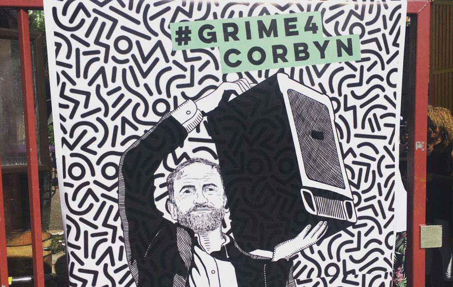 Drawing of Jeremy Corbyn holding a speaker